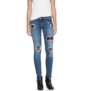 Rag & Bone Sloane Plaid Patch Skinny Jeans Size 26